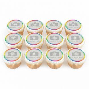 12 Rainbow Swirl Photo Cupcakes