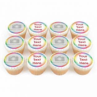 12 Rainbow Photo & Text Cupcakes