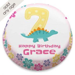 Pink Dinosaur Number Cake