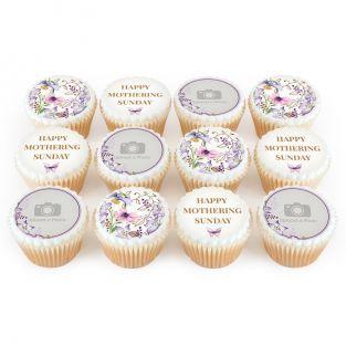 12 Purple Flower Photo Cupcakes
