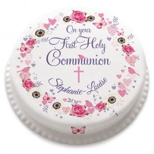 Pink Flower Communion Cake