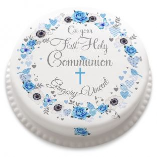 Blue Flower Communion Cake