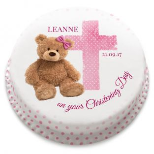 Pink Ted Christening Cake