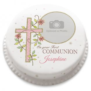 Pink First Communion Cake