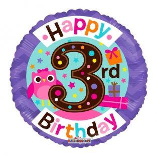 3rd Birthday Owl Balloon