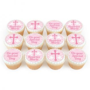 12 Pink Dove Cupcakes