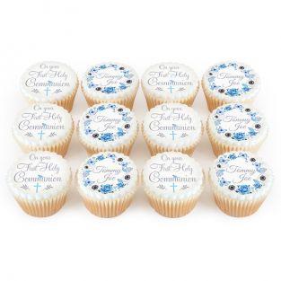 12 Blue Communion Cupcakes