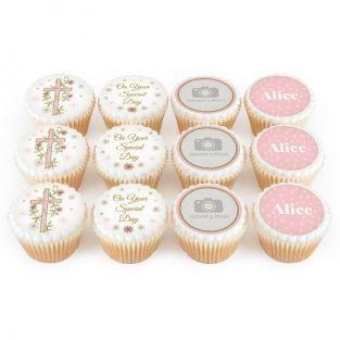 12 Pink Cross Cupcakes