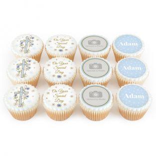 12 Blue Cross Cupcakes