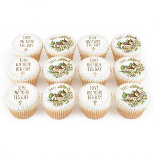 12 Golden Church Cupcakes