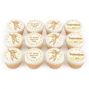 12 Gold Cherub Cupcakes