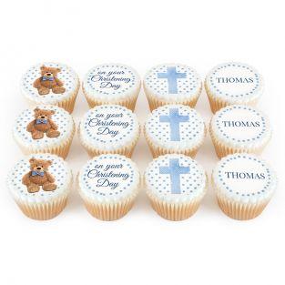 12 Blue Teddy Christening Cupcakes
