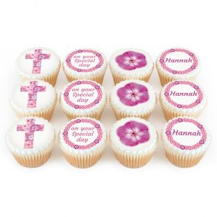 12 Pink Flower Cross Cupcakes