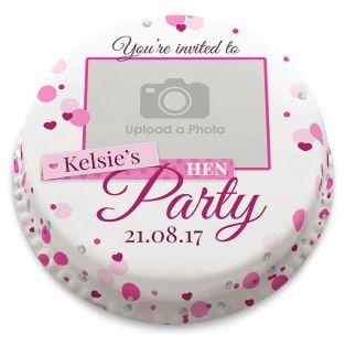 Hen Party Photo Invitation Cake