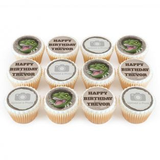 12 T-Rex Photo Cupcakes