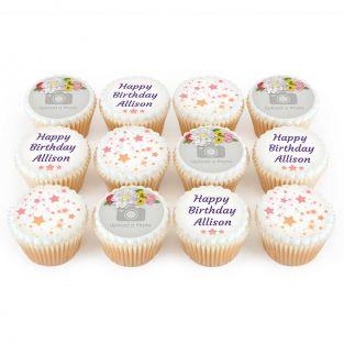 12 Flower Crown Photo Cupcakes