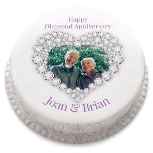 Diamond Anniversary Heart Cake