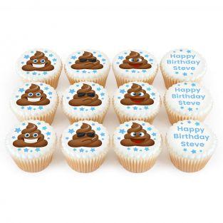 12 Poop Emoji Cupcakes