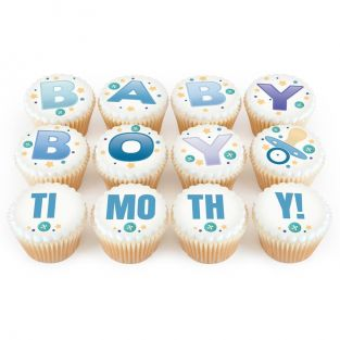 12 Baby Boy Cupcakes