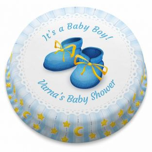 Baby Boots Blue Cake