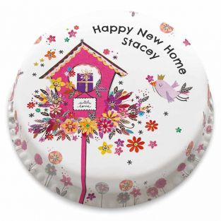 Pink Floral New Home Cake