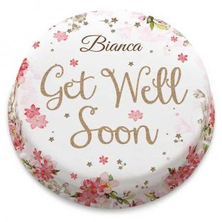 Pink Floral Get Well Soon Cake