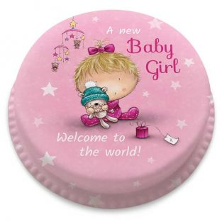 Pink Starry Baby Girl Cake