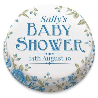 Floral Baby Shower Blue Cake
