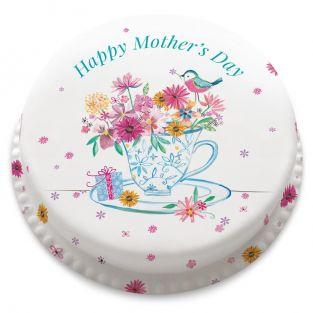 Tea Cup Flowers Cake