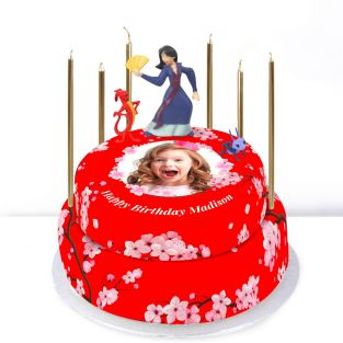 Disney Mulan Photo Tiered Cake