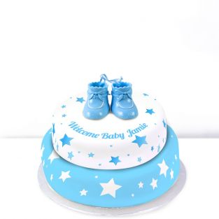 Blue Baby Boots Cake