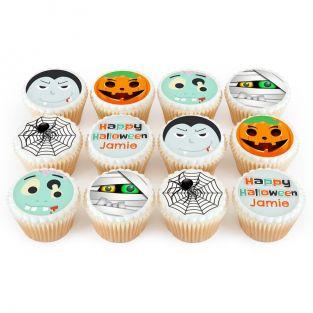 12 Black Halloween Cupcakes