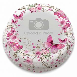 Pink Butterfly Photo Cake