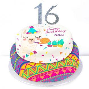 16th Birthday Party Llama Cake