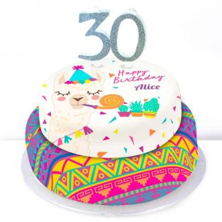 30th Birthday Party Llama Cake
