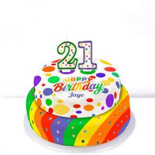 21st Birthday Polka Dot Cake
