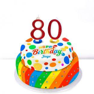 80th Birthday Polka Dot Cake