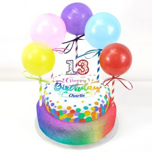 13th Birthday Balloons Cake