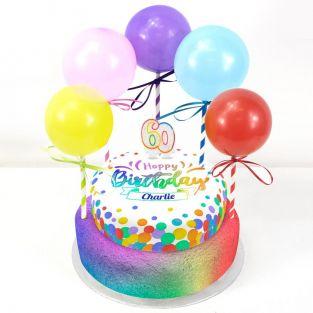 60th Birthday Balloons Cake