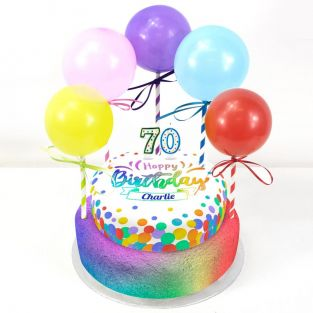 70th Birthday Balloons Cake