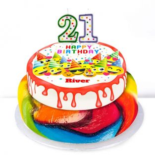 21st Birthday Emoji Cake