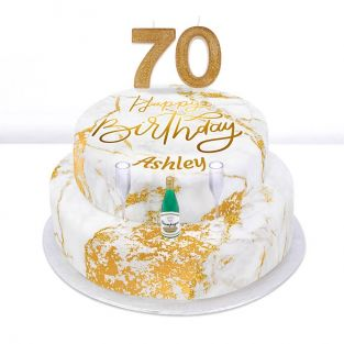 70th Birthday Champagne Cake