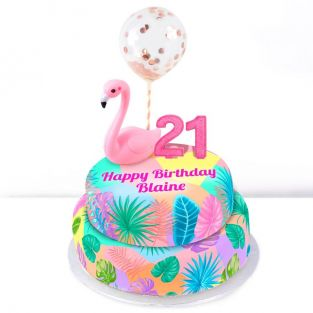 21st Birthday Flamingo Cake