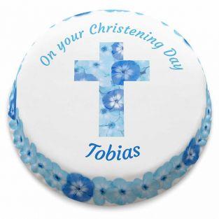 Blue Floral Cross Cake
