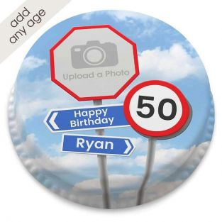 Any Age Road Signs Photo Cake