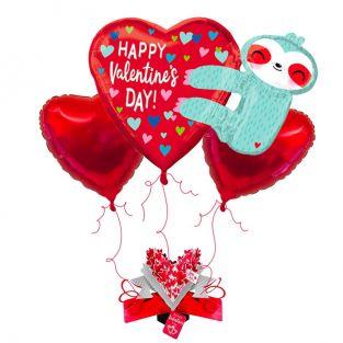 Valentine's Sloth Balloon Bouquet