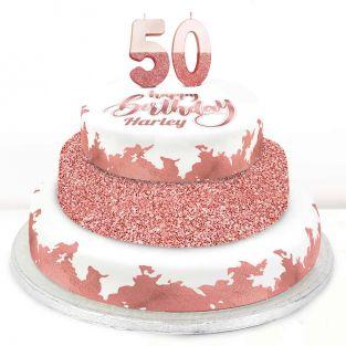 50th Birthday Rose Foil Cake