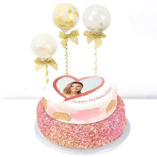 Pink Balloons Tiered Cake