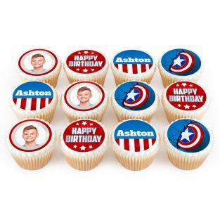 12 Captain America Photo Cupcakes
