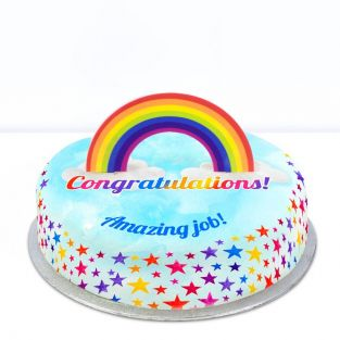 Rainbow Congrats Cake